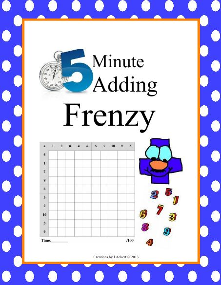 Multiplication 5 Minute Multiplication Free Math Worksheets – Subtraction Frenzy Worksheets