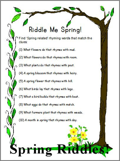 Search Results For Spring Riddle For Kids Calendar 2015