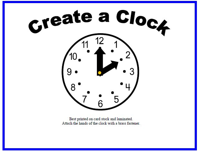 printable clock hands